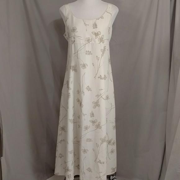 Neutral Sheath Sleeveless Dress Maxi Beige Floral